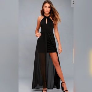 Lulu's My Beloved Lace Black Maxi Dress